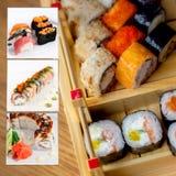 Assorted sushi collage photo set Stock Image