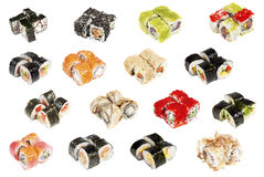 Assorted sushi isolated Royalty Free Stock Photo