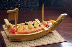 Assorted sushi Japanese food on the ship Stock Photo