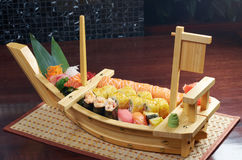 Assorted sushi Japanese food on the ship Royalty Free Stock Photos