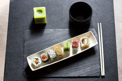 Assorted sushi menu on the white plate Royalty Free Stock Photo
