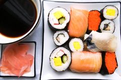 Assorted sushi on plate Stock Photo