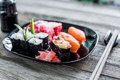 Assorted sushi on a plate Stock Photo