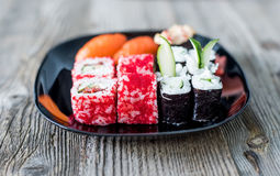 Assorted sushi on a plate Royalty Free Stock Photography