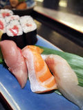 Assorted sushi platter. Assorted japanese sushi (raw fish and rice) platter Stock Image