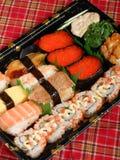 Assorted sushi platter salmon roll rainbow rolls Stock Photo