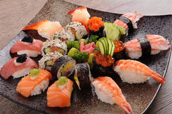 Assorted sushi platter Royalty Free Stock Image