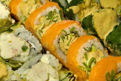 Assorted Sushi Rolls. Several Sushi rolls including raw salmon, spinach and vegetable tempura Stock Image