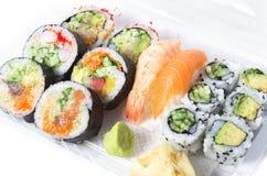 Assorted sushi rolls and nigiri Stock Image