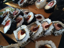 Assorted sushi rolls Royalty Free Stock Images
