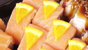 Assorted sushi rotate stock footage