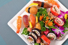 Assorted sushi selection on plate Royalty Free Stock Photos
