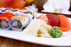 Assorted sushi with wasabi and chopsticks Stock Photography