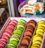 Assorted sweet colourful macaroons royalty free stock photography