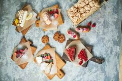Free Assorted Sweet Desserts. Top View. Gray Textured Background. Beautiful Serving Dishes. Dessert. Food Chain Royalty Free Stock Photos - 147886258