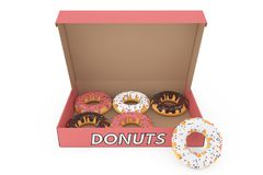 Assorted Sweet Donuts in a Paper Cardboard Box. 3d Rendering. Assorted Sweet Donuts in a Paper Cardboard Box on a white background. 3d Rendering Royalty Free Stock Images