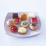 Assorted sweet petit-fours. Food, gastronomy, cooking,cookery Royalty Free Stock Images