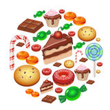 Assorted sweets colorful background with chocolate Lollipops, cake, cookies candies and donut  Sweet shop. Stock Image