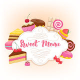 Assorted Sweets Colorful Background. Sweet Menu Design. Royalty Free Stock Images