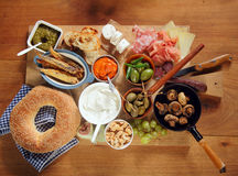 Assorted Tapas on Wooden Board on Top of Table Stock Images