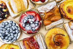 Assorted tarts and pastries Stock Images