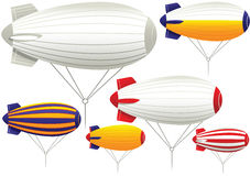 Assorted tethered blimps Royalty Free Stock Images