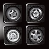Assorted tire icons. Four different icons of tires Royalty Free Stock Images