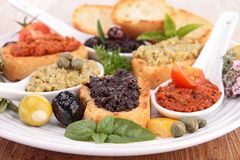 Assorted of toast with tapenade Royalty Free Stock Photos