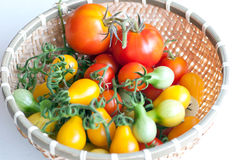 Assorted tomatoes inside bamboo basket Royalty Free Stock Photography
