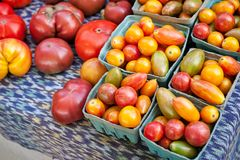 Assorted tomatoes on sale at a farmers market. stock photo