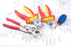 Assorted Tools on diagram Royalty Free Stock Images