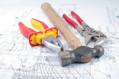 Assorted Tools on diagram Stock Photo