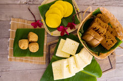 Assorted Tradisional malaysia cakes and deserts Royalty Free Stock Photos