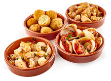 Assorted traditional Spanish tapas snacks Royalty Free Stock Images