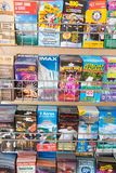 Assorted travel brochures. And pamphlets to encourage tourist to do more fun activities while on vacation in Niagara Falls Region in Ontario Canada Stock Photo