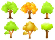 Assorted Trees Clip Art. An illustration featuring an assortment of 6 trees in green and autumn colours Royalty Free Stock Photography