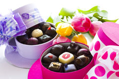 Assorted truffles. In cute hat shape boxes for Mothers Day stock photography