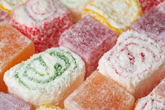 Assorted Turkish Delight as background Stock Images