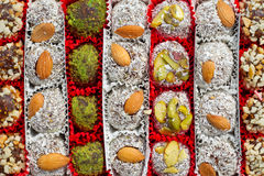 Assorted Turkish Delight bars Stock Images