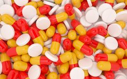 Assorted type of pills in shades of white, yellow and red. High-quality 3d render royalty free illustration
