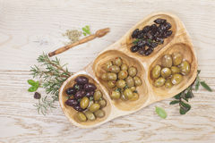 Assorted types of olives Stock Photography