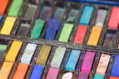 Assorted used pastels Stock Photography