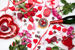 Assorted Valentines Gifts and Treats Stock Photo