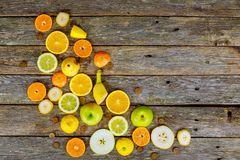 Arrangement ripe fruits and vegetables for eating healthy royalty free stock photos
