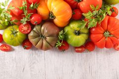 Assorted various tomatoes. Top view Stock Images