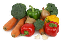 Assorted vegetables. Separated on a white background, clipping path included Stock Photos