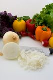 Assorted Vegetables. With Onion Diced, in Verticle mode royalty free stock image