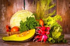 Assorted vegetables on a basket Stock Images
