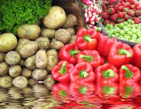 Assorted vegetables and fruits Stock Image