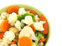 Vegetables in bowl isolated closeup Royalty Free Stock Photos